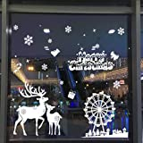 TKING Christmas Window Stickers Window Clings for Home and Shop Window Xmas Decorations-White Christmas Deer Snowflakes (Style F)