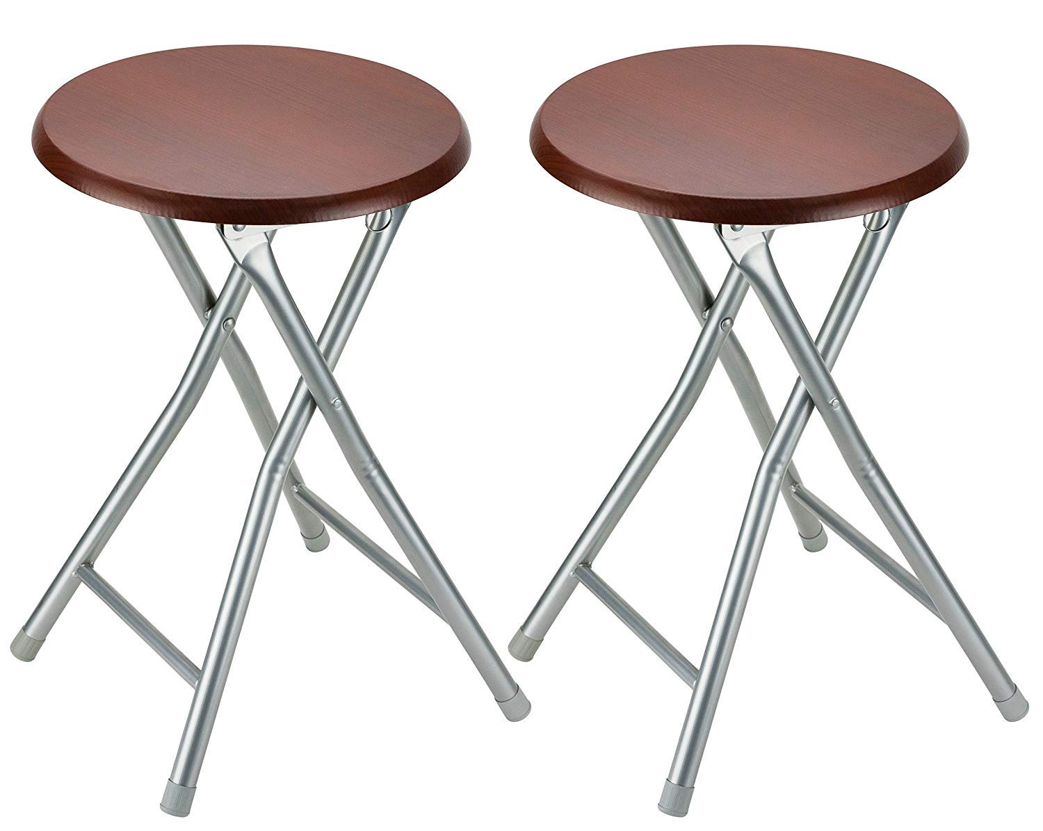 DecorRack Wooden Seat Folding Stool, 18 inch Portable Lightweight Foldable Chair, Collapsible Sitting Stool with Wooden Seating Top, Cherry (2 Pack) by DecorRack