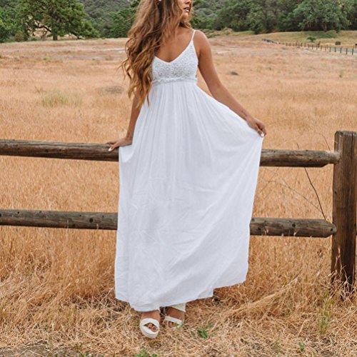 Camisole Robe Vintage Halter Longue Longue Blanche sans Sexy en Splicing Chic Bretelles Guesspower Blanc Ete Femme V Nu sans Plage Robe Dentelle Manches Dos SHYxwqO4