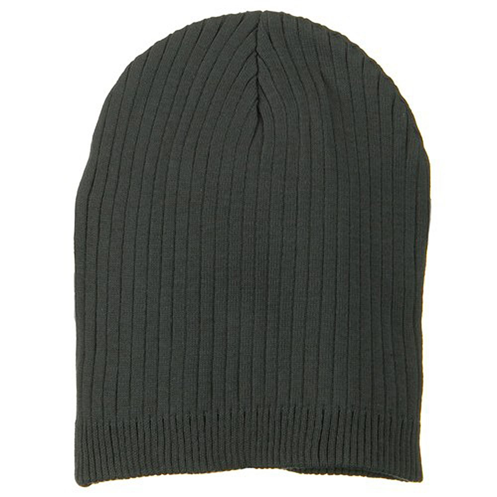 6f5bf3edbe1 Big Stripe Ribbed Cotton Beanie - Charcoal (for Big Head) at Amazon Men s  Clothing store  Big Knit Hats