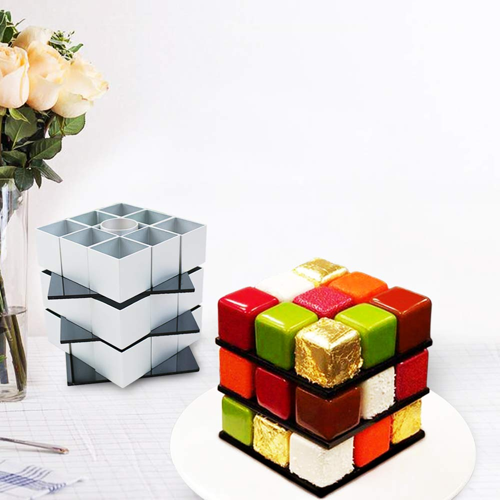 Rubiks Cube Cake Mold - DIY Cookie Cutters Baking Supplies Cake Decorating Kit - Rotate Magic Cube Aluminum Alloy Molds - 3D Chocolate Fondant Pastry Dessert Mold for Birthday Party Festival by Sunny seat (Image #7)