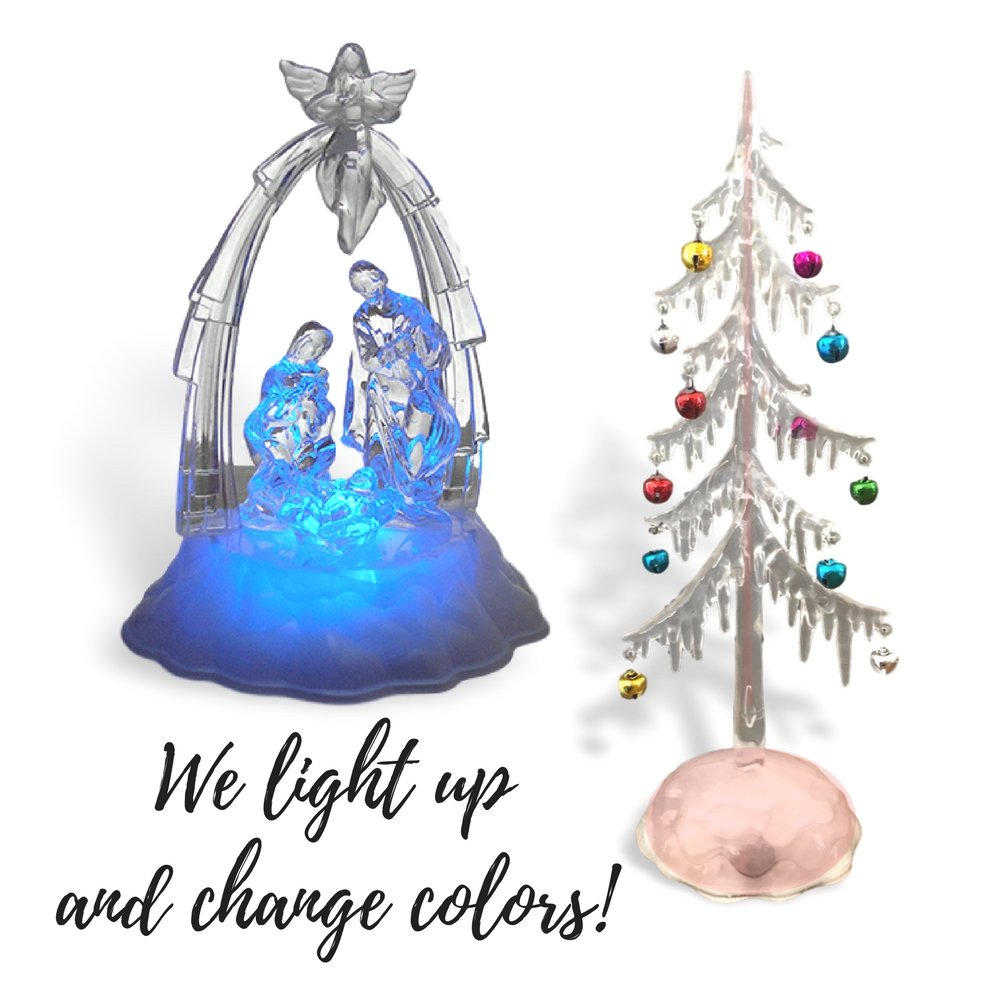 Lighted Nativity Scene and Christmas Tree Set - Tabletop Xmas Decoration - LED Color Changing Lights and Battery Operated