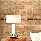 Ohcde Dheark 3D Stereoscopic Stone Brick Wall Paper Rolls Restaurant Clothing Store Background Vinyl Wall Papers Home Decor 300Cmx210Cm(118.1 By 82.7 In)