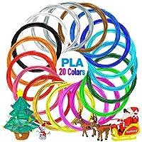 Nulaxy 3D Printer/3D Pen Filament, 1.75mm PLA Filament Refills Pack of 20, Each Color 16 Feet, Total 328 Feet, Bonus 4 Glow in The Dark