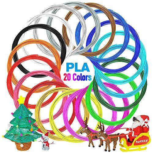 Nulaxy 3D Printer/3D Pen Filament, 1.75mm PLA Filament Refills Pack of 20, Each Color 16 Feet, Total 328 Feet, Bonus 4 Glow in The Dark (Best 3d Printer For Architects)