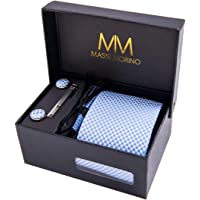 Massi Morino Ensemble Cravate en Microfibre, Pince à Cravate Argent, Boutons de Manchette et Pochette – Toucher Soyeux