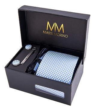 MASSI Morino Hombre Designer corbata - caja conjunto con pañuelo ... ed9425323d2f
