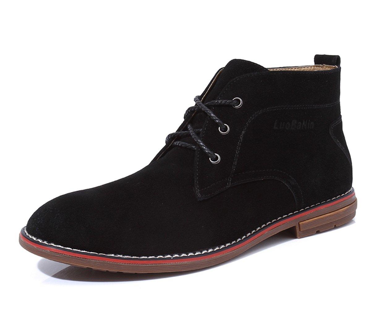 Minishion Men's Classic Original Black Suede Basic Chukka Ankle Boots US 10.5