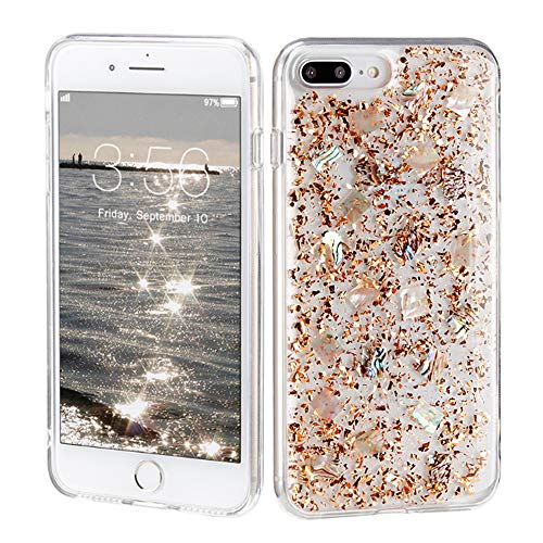 iPhone 7 Plus Case, iPhone 8 Plus case, Sunluma Clear Bling Sparkle Glitter Protective Hard Back TPU Bumper Slim Shockproof Mother of Pearl Girly Cover Skin for iPhone 8 Plus,iPhone 7 Plus (Gold) ()