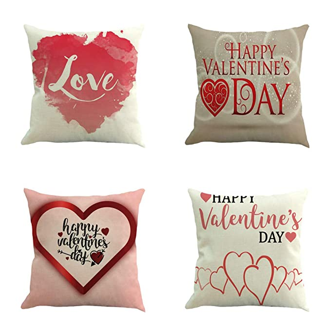 Mome 💗 Wall Stickers Decoration 💗 Happy Valentines Day Letter Decor Print Square Cushion Cover for Baby Supersoft Party~ Handmade Decorative ...