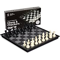 2 in 1 Travel Magnetic Chess and Checkers Set - 12.5'' by Yellow Mountain Imports