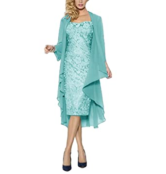 fc11241a1d3 WHZZ Womens Tea Length Mother of The Bride Dress with Jacket Two Piece  Evening Dresses Aqua