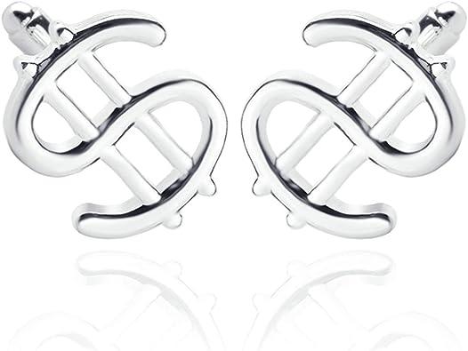 2 Piezas Gemelos para Boda Gemelos Boda Personalizados Símbolo Dólar Gemelo Camisa Hombre Plata: Amazon.es: Joyería