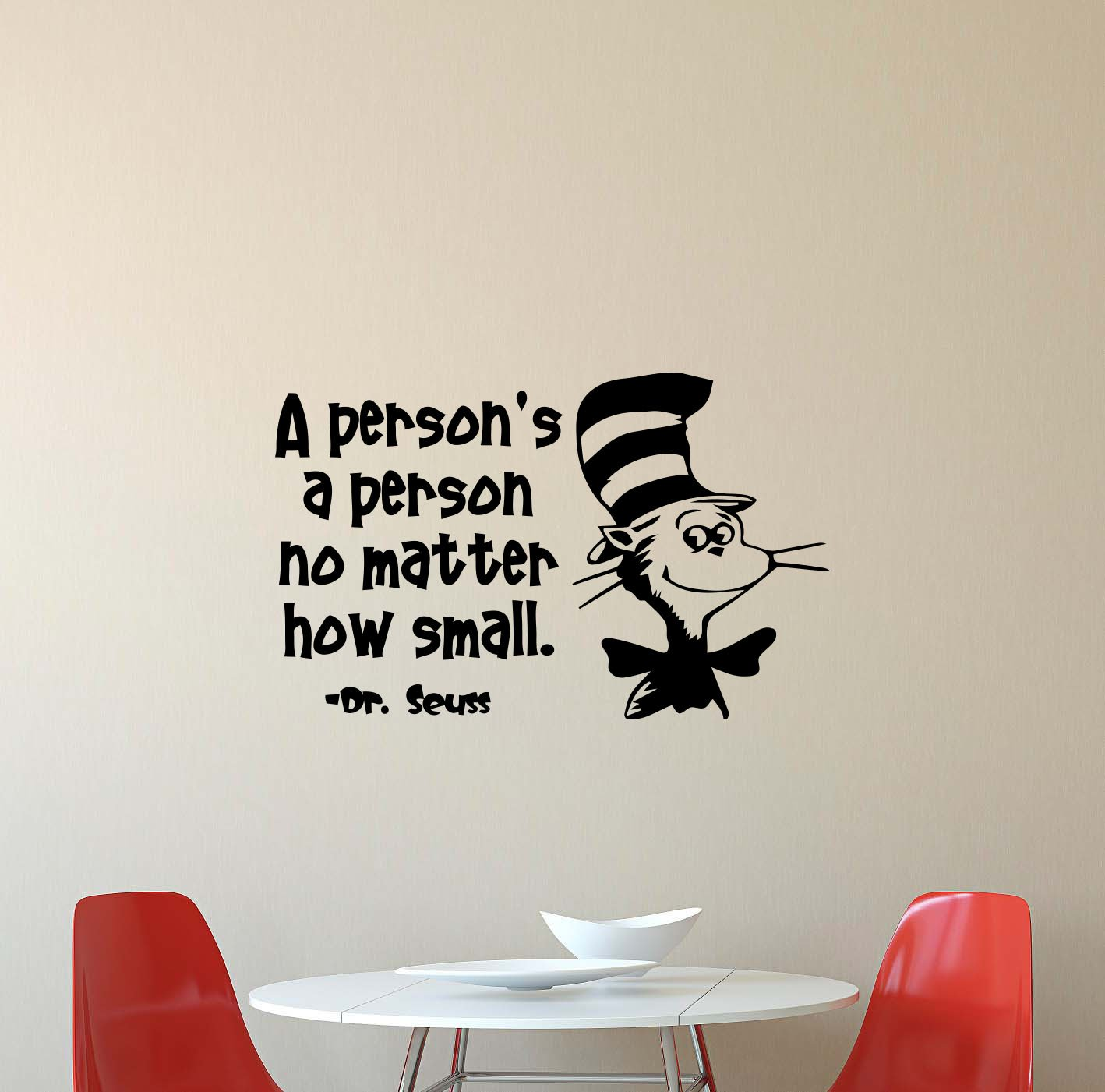 Dr seuss wall decal a persons a person no matter how small quote walt disney lettering gift stencil vinyl sticker home kids playroom bedroom decor art