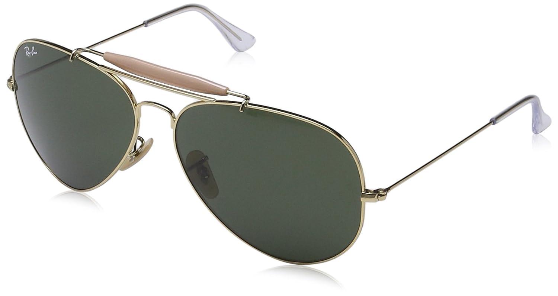 6a318910ff Amazon.com  Ray-Ban OUTDOORSMAN II - ARISTA Frame CRYSTAL GREEN Lenses 62mm  Non-Polarized  Clothing