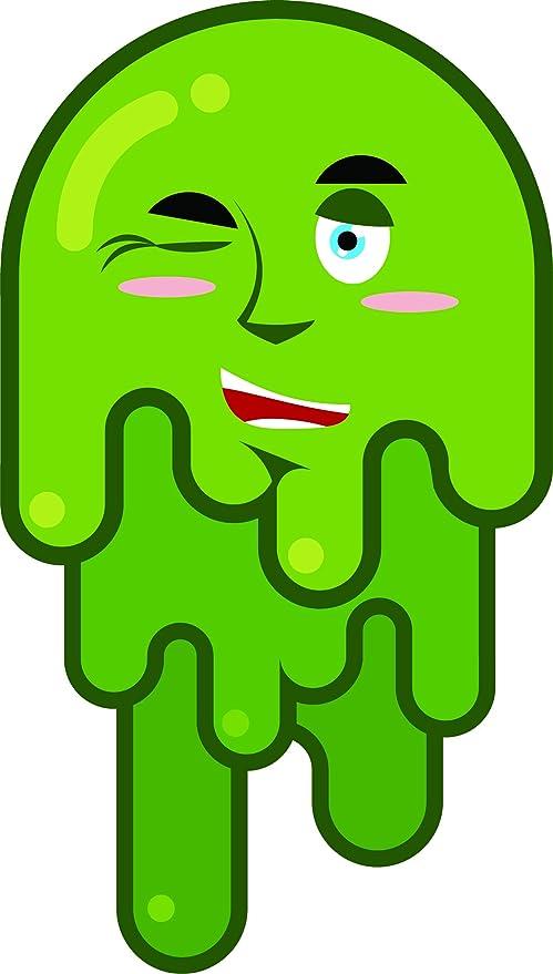 Amazon com: Cute Melting Green Slime Cartoon Emoji Vinyl
