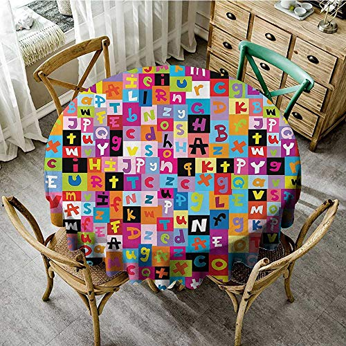Summer Table Cloths Abstract,Colored Alphabet Letters Pattern Education School Puzzle Children Graphic Print,Multicolor D 70