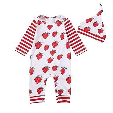 758ef819254a Amazon.com  SUNTEAMO Newborn Baby Strawberry Striped Print Romper ...