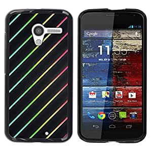 iKiki Tech / Estuche rígido - Lights Black Clean Red Rainbow Spectrum - Motorola Moto X 1 1st GEN I XT1058 XT1053 XT1052 XT1056 XT1060 XT1055