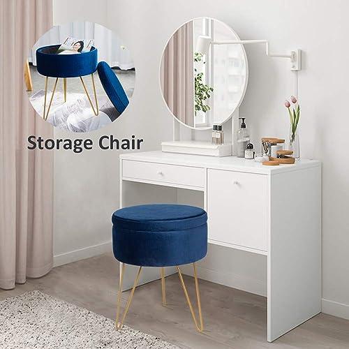 Elnsivo Velvet Storage Footrest Stool Dressing Upholstered Vanity Chair Round Ottoman