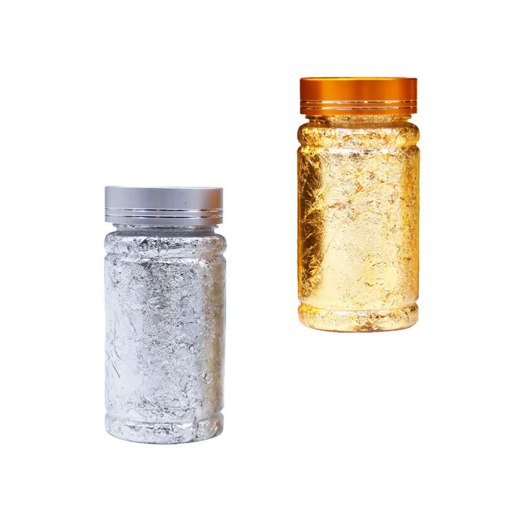 SUPVOX 3 st/ücke Nachahmung blattgold flocken vergoldung flocken silberfolie Papier f/ür vergoldung malerei Kunst Handwerk n/ägel DIY und Dekoration Silber golden