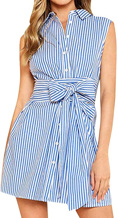 yoyorule Casual Summer Dress Plus Size Womens Fashion Casual Vacation Style Striped Print Sleeveless Dress