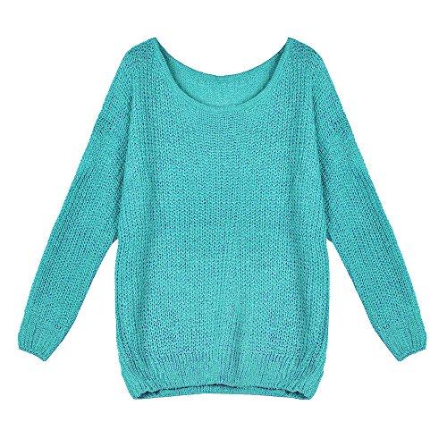Ularma Jerséis de la mujer, Suelta cuello barco de manga larga de invierno suéter Cyan