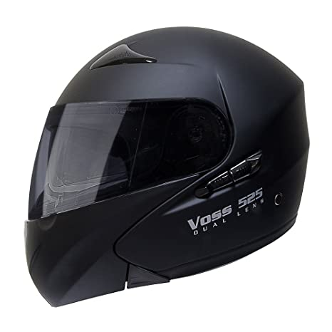 Voss 525 Dual Lens Modular Helmet with Integrated Sun Lens and Ratchet Quick Release - S - Matte Black