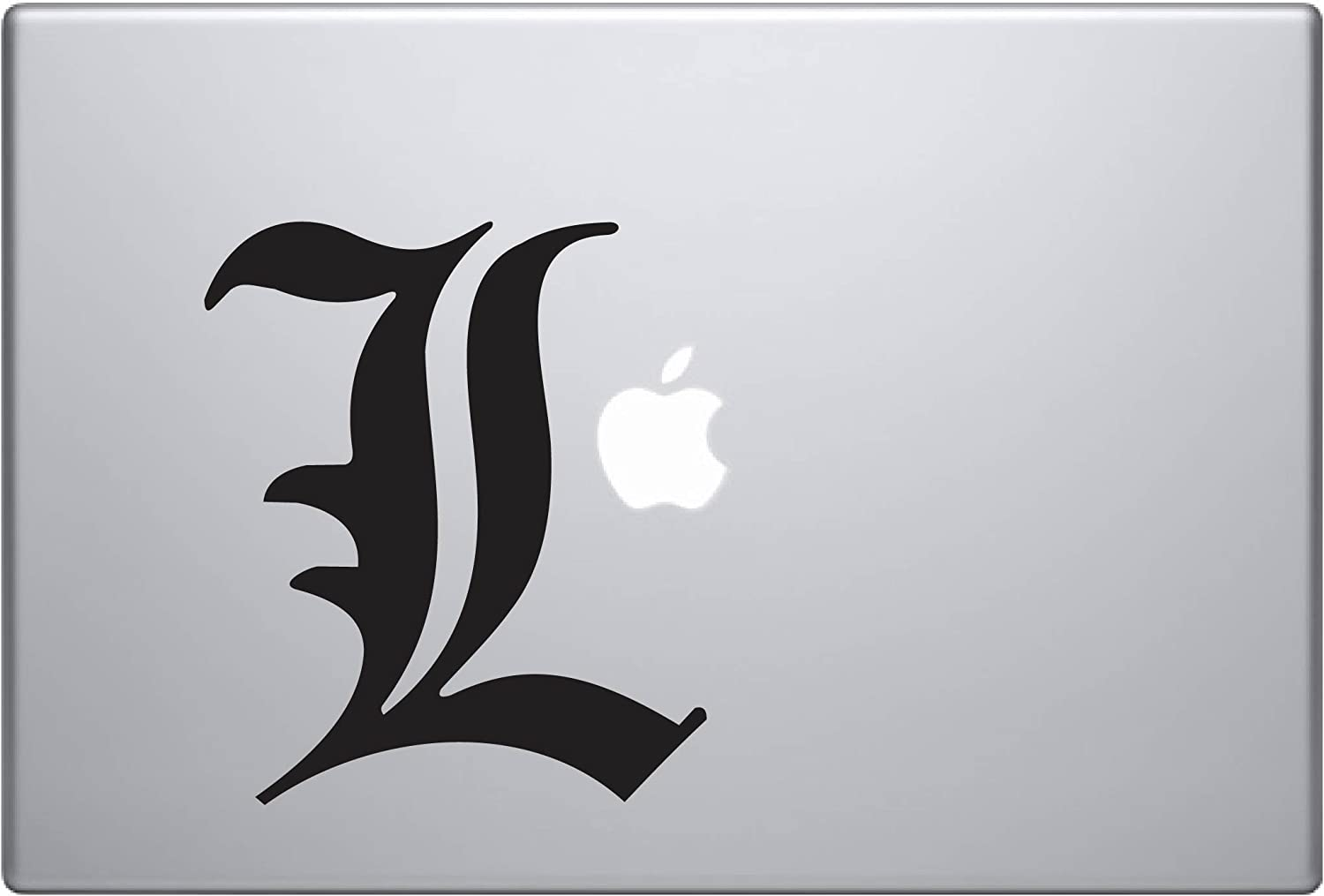 """Death Note L (Black 9"""") Vinyl Decal Sticker for Car Automobile Window Wall Laptop Notebook Etc.... Any Smooth Surface Such As Windows Bumpers"""