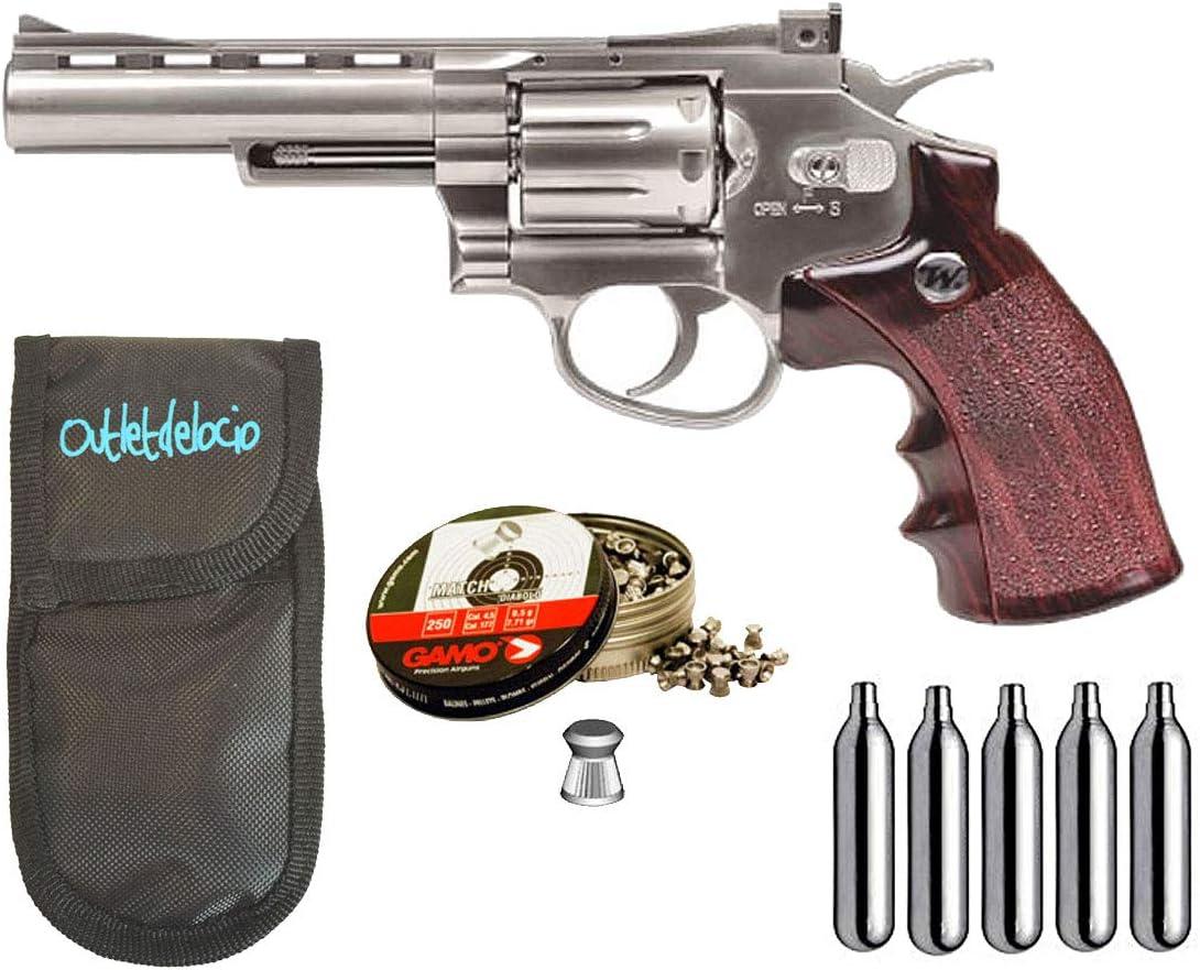 Outletdelocio. Revolver Perdigón Winchester. Calibre 4,5mm. + Funda portabombonas + balines + bombonas co2. 29318/38203/23054