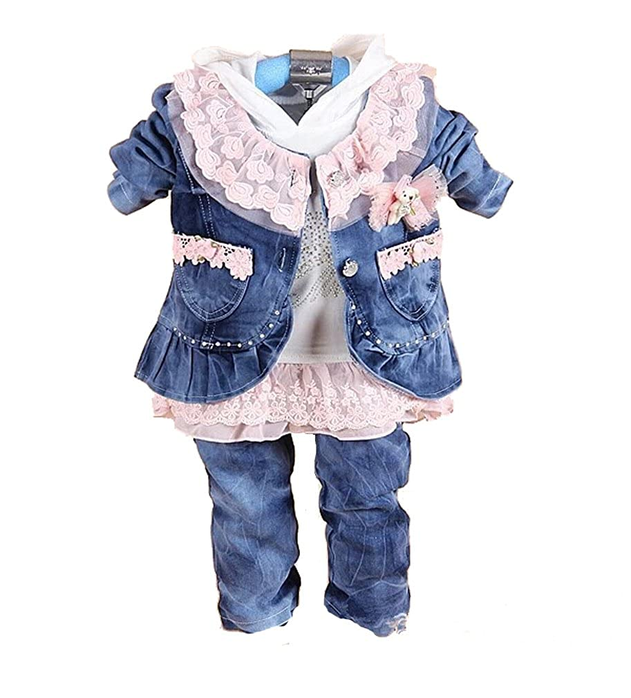 3225c901d Amazon.com  SOPO Baby Girls Cute Floral Lace Bows Jeans Outfits 2-3 ...