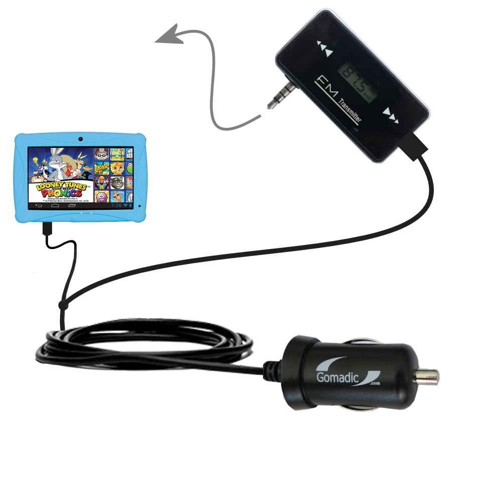 3rd Gen FM Transmitter with Micro Rapid Car Charger compatible with the ClickN Kids CKP774