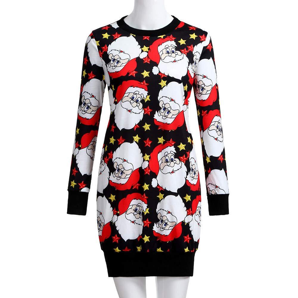 26c944fc330 Amazon.com  FEDULK Christmas Womens Dress Santa Claus Print Ugly Sweater  Xmas Pullover Mini Dress  Clothing