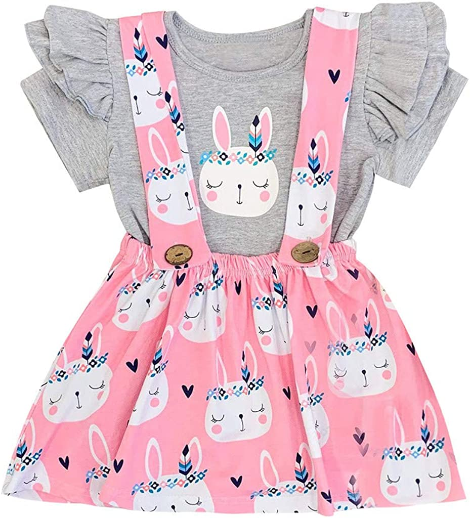 Mbby Tuta Bambina Pasqua,0-4 Anni Estivi Completino Neonato Ragazza 2 Pezzi Tute in Cotone Abito Maglietta Stampa Coniglio Set