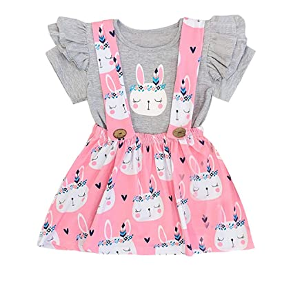 9ea59a3a5f3a4 MOVEmen Toddler Baby Kids Girls Easter Rabbit Bunny Tops Print Skirt Casual  Outfits Set Climbing Suit Travel Wear Beach Dress Sling Short Sleeve Shirt  Strap ...