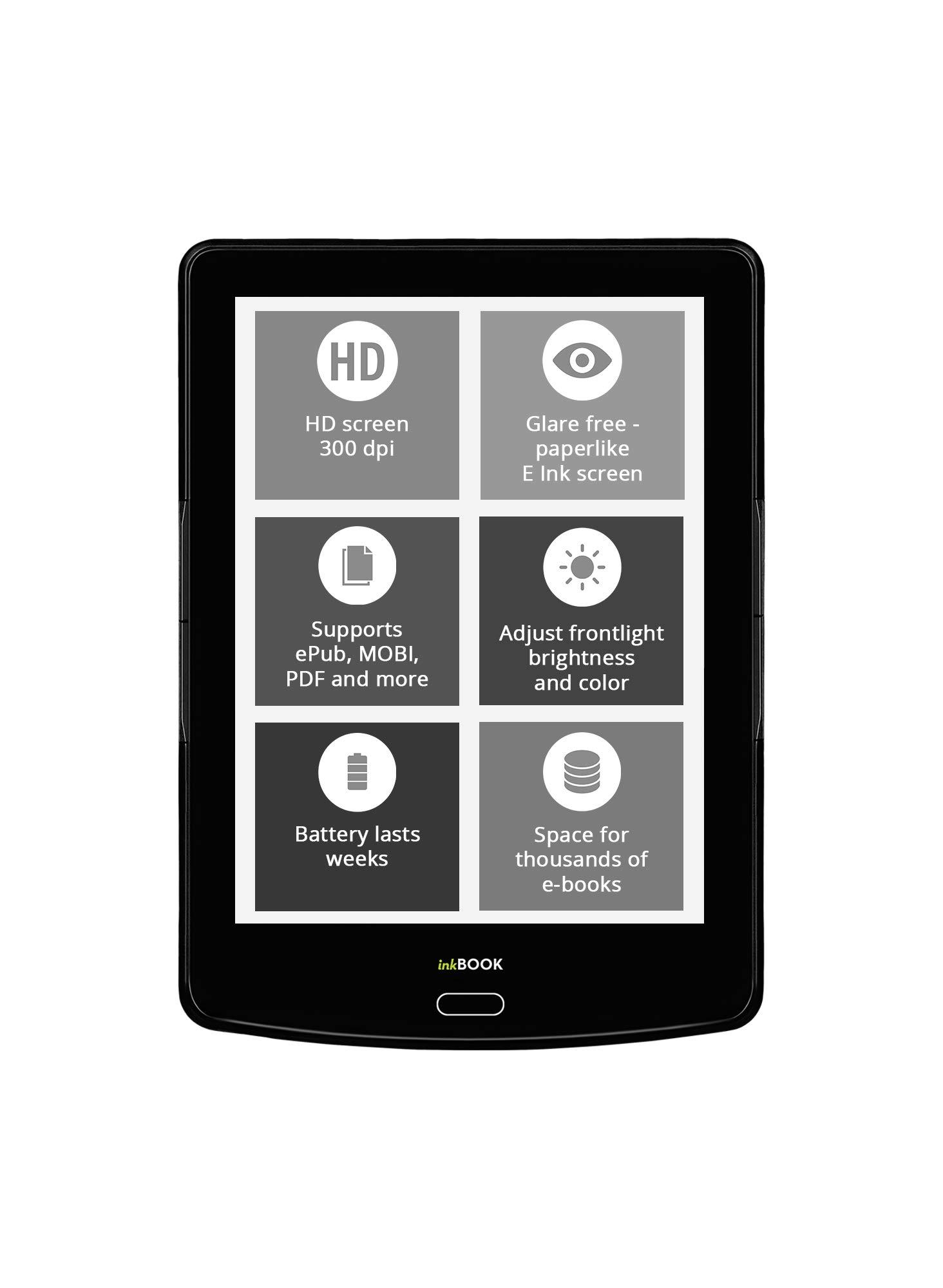 inkBOOK Prime HD E-Reader - 300dpi, Glare-Free Touchscreen Display 6'' Quad-core
