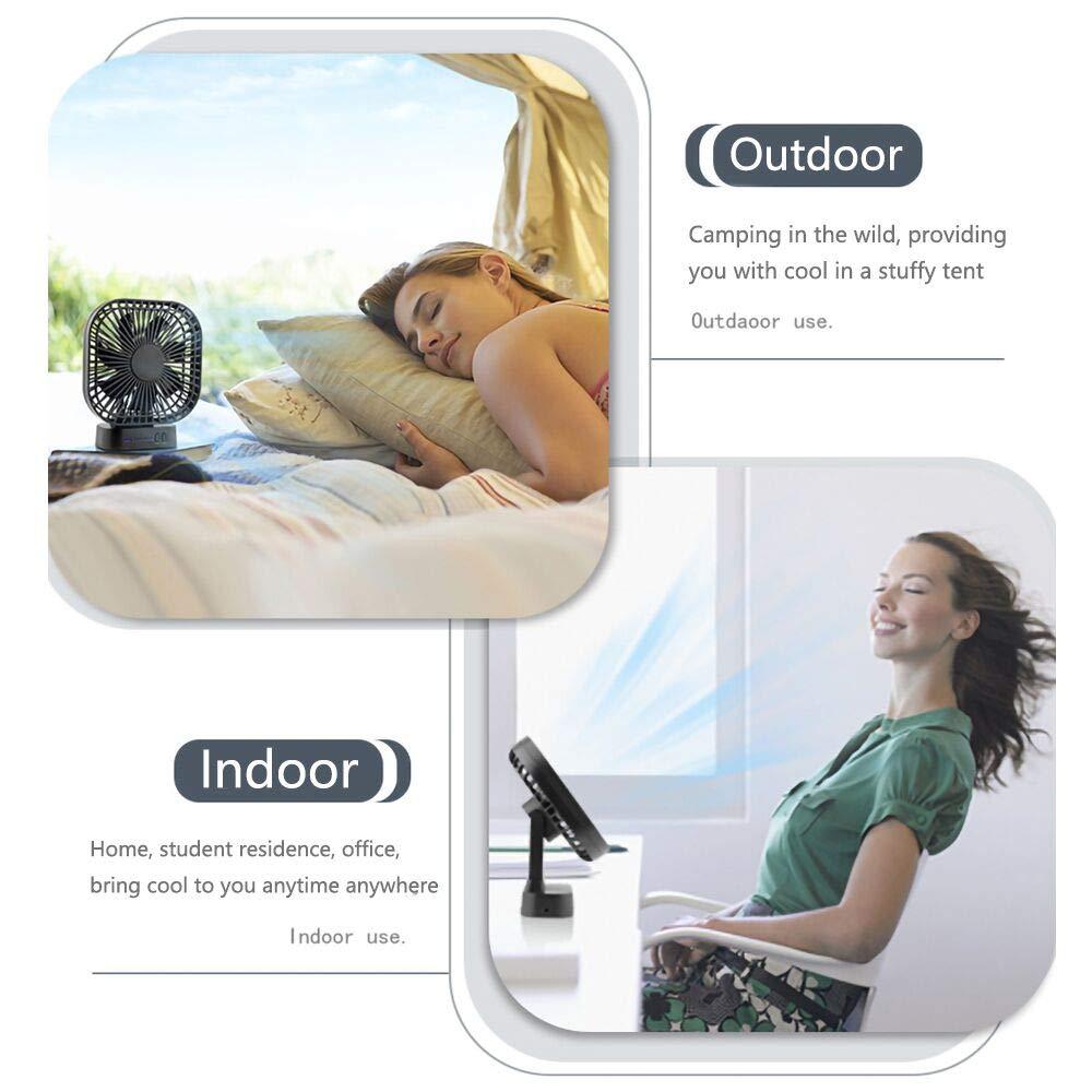 Ventilateur de Bureau Voiture Camping Ventilateur Silencieux Portable pour Poussette E-More Ventilateur USB Rechargeable 4000mAh avec Base Magn/étique 3 Vitesses avec Minuterie