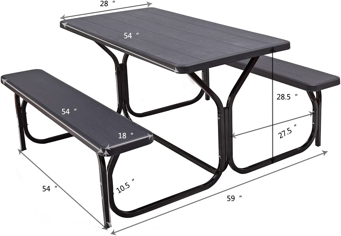 Giantex Picnic Table Bench Set Outdoor Camping All Weather Metal Base  Wood-Like Texture Backyard Poolside Dining Party Garden Patio Lawn Deck  Large