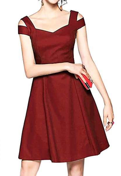8b6d7a3965ade InsNova Women's Summer Cold Shouder A Line Dresses for Party Wedding  (X-Small,