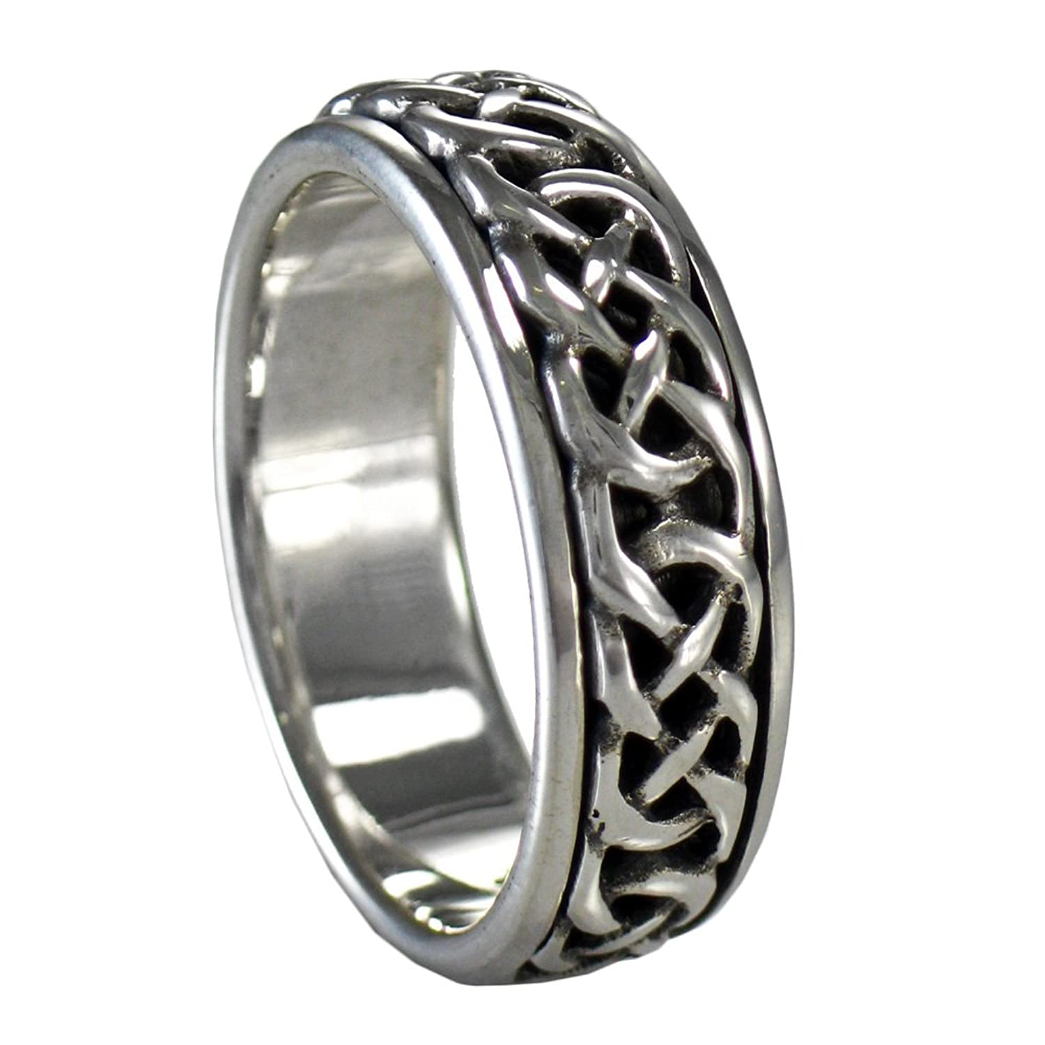 Amazon Sterling Silver Woven Celtic Knot Spinner Worry Ring