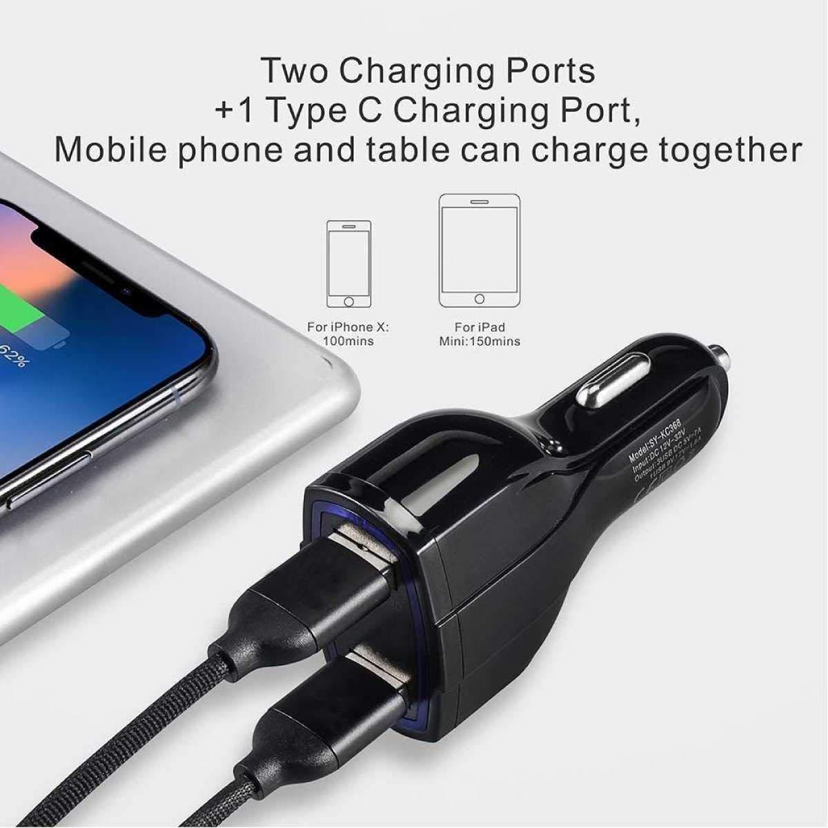 ULTRICS Chargeur de Voiture USB Noir iPhone XS Max//X//8 Plus etc Type C Quick Charge 3.0 iSmart 3 Ports Universel Rapide Adaptateur Allume Cigare Chargeur pour Android Smartphones Samsung S9//S8