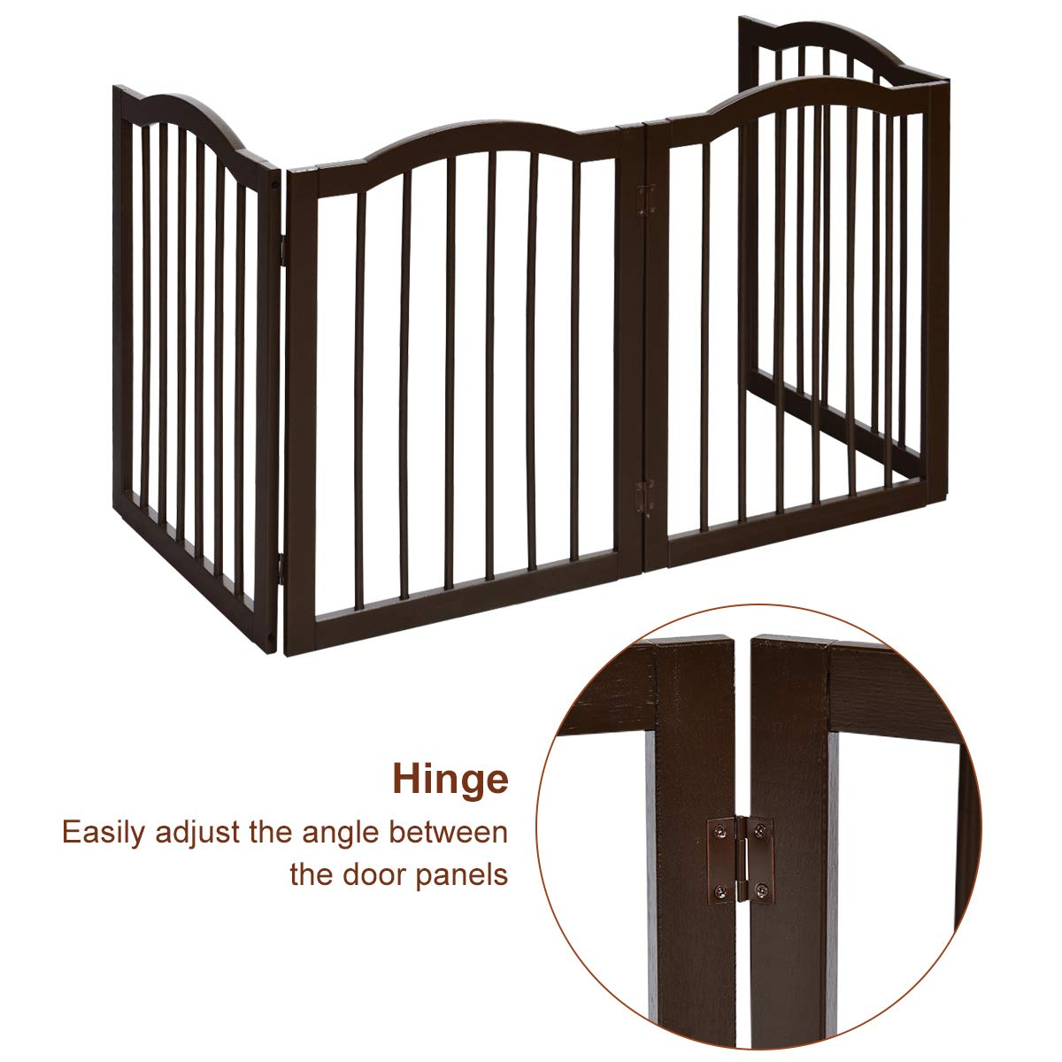 93cm High Pet Guard for Doorways GYMAX 3 Panels Freestanding Barrier 360/° Rotating Wooden Folding Pet Gate Stairs