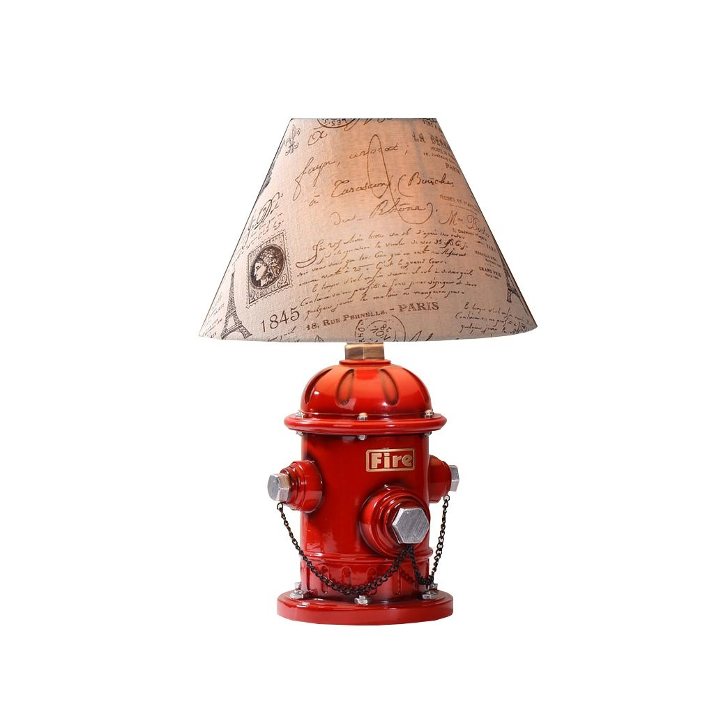 LQQGXL LED fire hydrant table lamp bedside lamp cloth shade red children 's bedroom playroom children' s gifts E27 Simple lamp