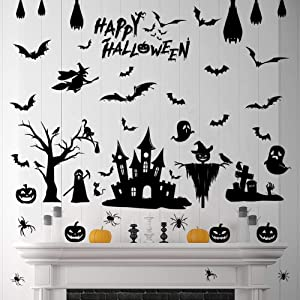 79 Pcs Halloween Decorations Removable Spooky Wall Stickers Gel Black Bats Window Clings Pumpkins Skeleton Tomb Cats Tree Witch Ghost Spider Castle Cemetery Haunted House Party Decorations