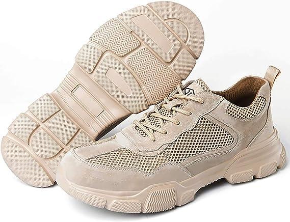 Zapatos de seguridad Ligera baja del cuero del ante-top zapatos mujeres de los hombres zapatos de trabajo de acero del dedo del pie transpirable zapatillas de deporte de protección botas de trabajo: