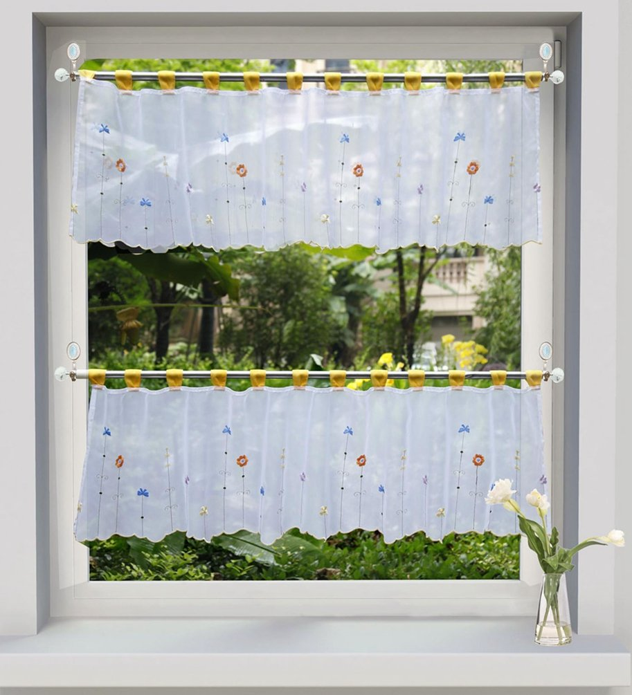 ZebraSmile 1pcs Embroidered Floral Half Window Curtains Kitchen Window Tier Semi Sheer Window Treatment Valance Voile Tab Top Window Tier for Kitchen Living Room Decoration 18X35.5In L1235021214590