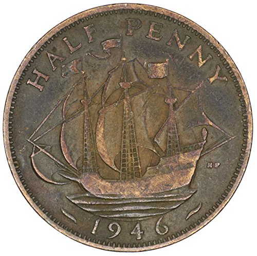 1946 UK Great Britain George VI Bronze Halfpenny Good