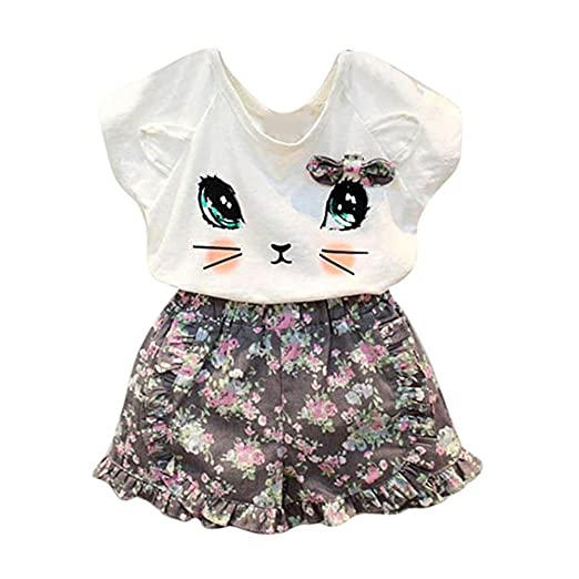 puseky Toddler Baby Girls Cute Cat T-Shirt+Floral Shorts Kids Summer Clothes Set