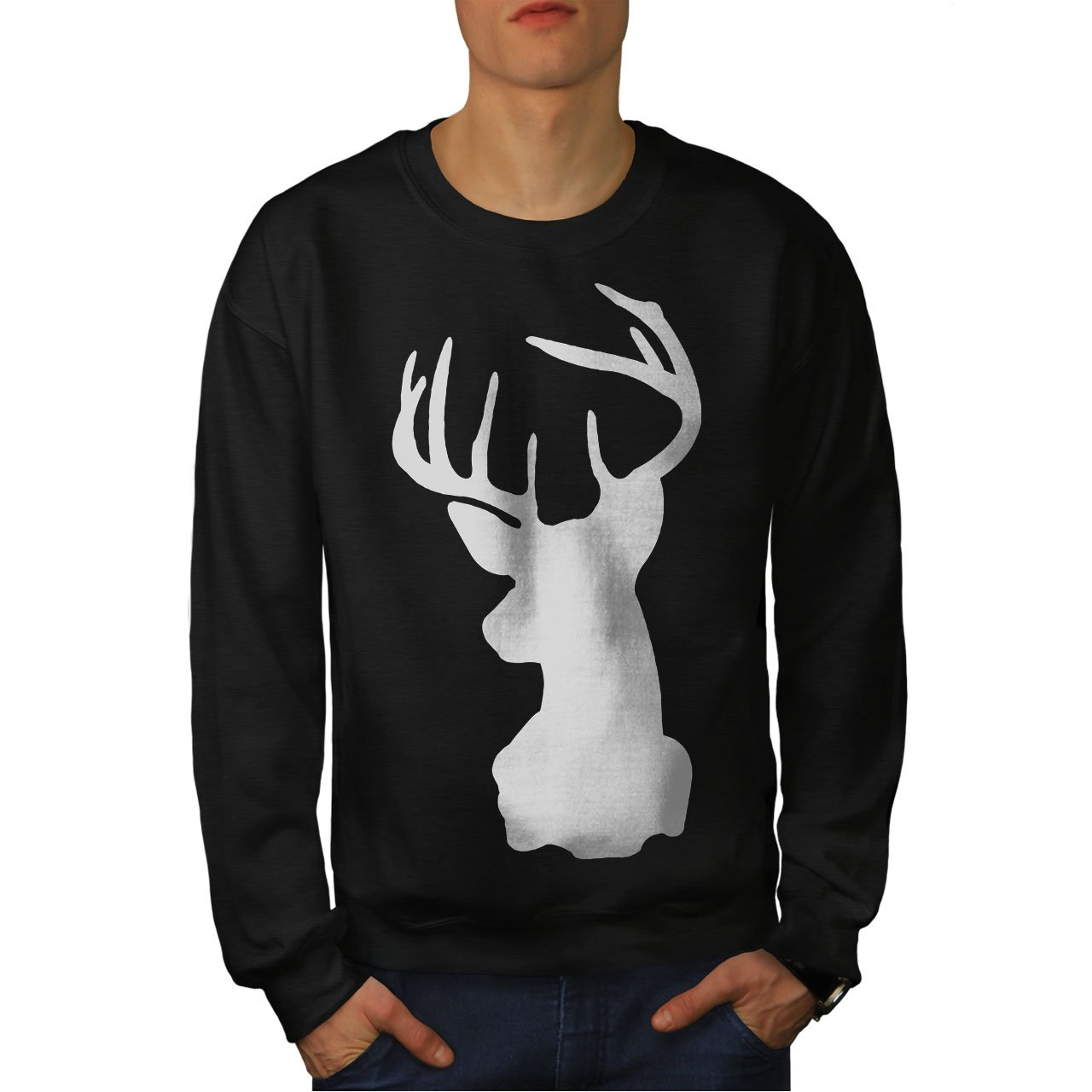 Profile Casual Jumper wellcoda Deer Head Mens Sweatshirt