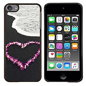 Jordan Colourful Shop - Love Flower Heart Beach For Apple iPod Touch 6 6th Generation Personalizado negro cubierta de la caja de pl????stico